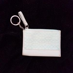 Coach keychain coin purse wallet light blue